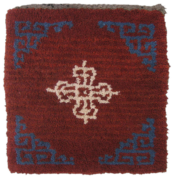 Kagangma (Square seat carpet) Central Tibet Wangden Valley Gabu Doppeldorje Tibetan highland wool ecru Age: 2008 Size: 83 x 81 cm
