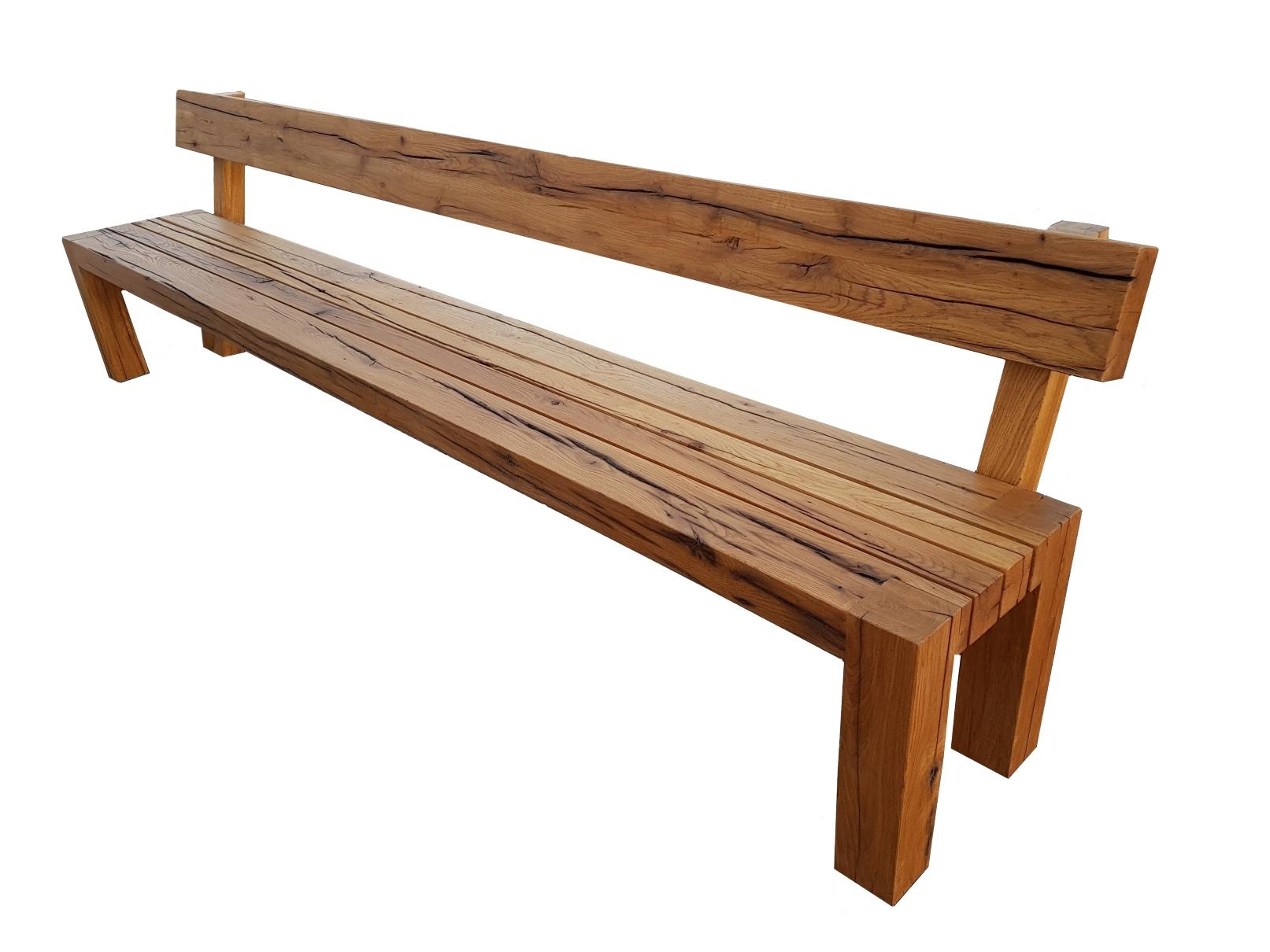 Holzbank mit Rückenlehne Eiche massiv