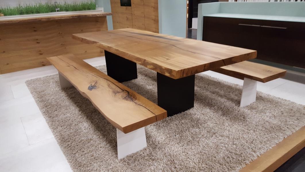 Esstisch mit Sitzbank im Industriedesign Eiche Stahl