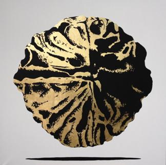 Frank Haase, Walnuss_04, Blattgold und Acrylfarben auf Leinwand, 90 x 90 cm, 2016, 850,- €