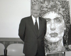 "Nobel Laureate Carlos Fuentes, and author of Terra Nostra, with original painting ""The Lady of the Butterflies"", portrait of Salma Hayek."