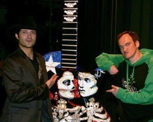 Robert Rodriguez and Quentin Tarantino with George Yepes' 10 foot Gibson guitar, for Austin GuitarTown.