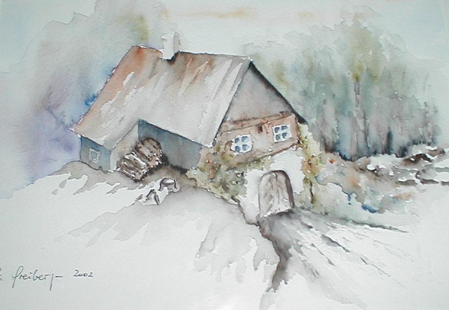 "ART HFrei - ""Auf dem Land"" - Aquarell - 2002"