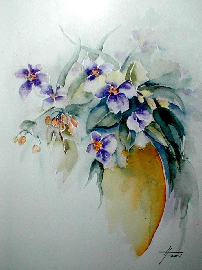 "ART HFrei - ""Blumenvase"" - Aquarell - 2004"
