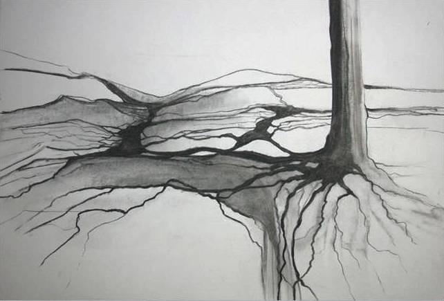 "ART HFrei - ""Verwurzelt"" - Naturkohle - 2011"