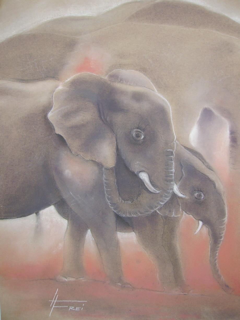 """ART HFrei - """"Elefantenherde"""" - Pastell - 2006"""