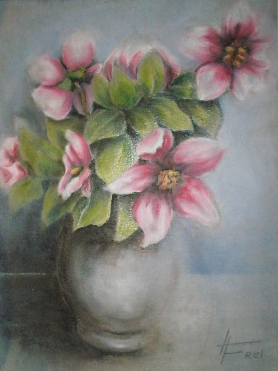 """ART HFrei - """"Blumenvase"""" - Ölpastell - 2007"""