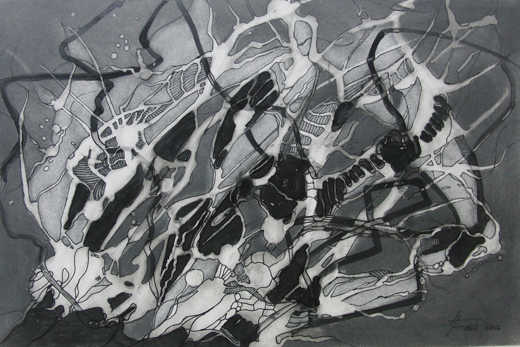 "ART HFrei - ""Insektensalat"" -Graphit - 2016"