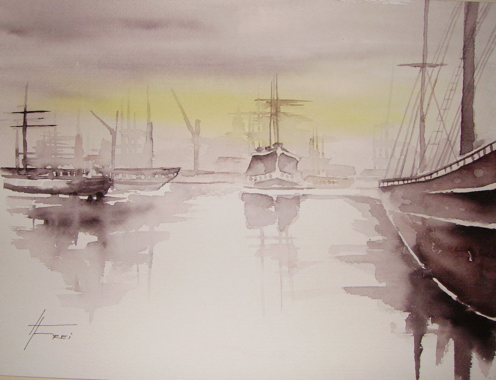 "ART HFrei - ""Am Hafen 1"" - Aquarell - 2004"