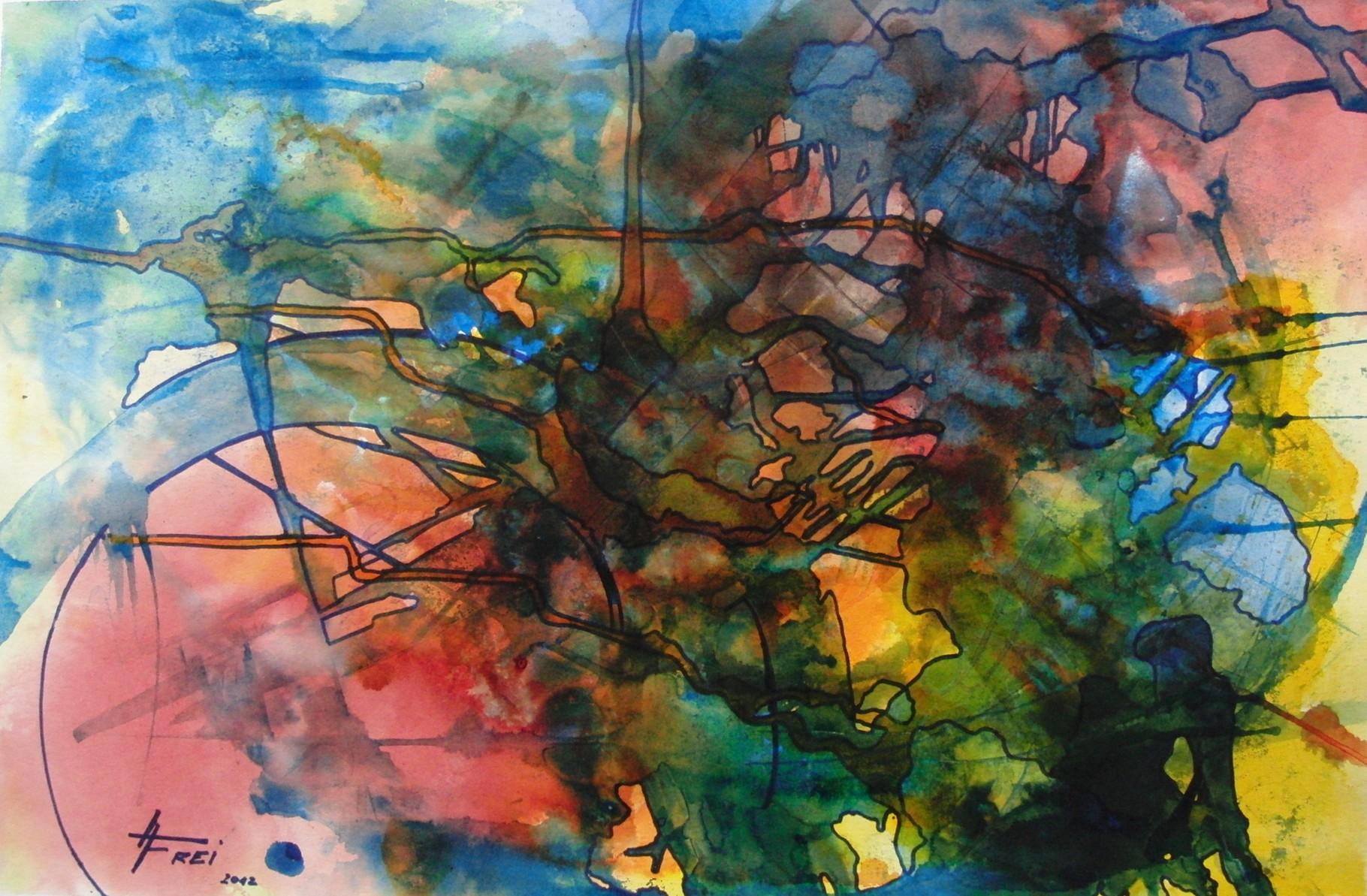 """ART HFrei - """"Der Unfall"""" - Aquarell - 2012"""