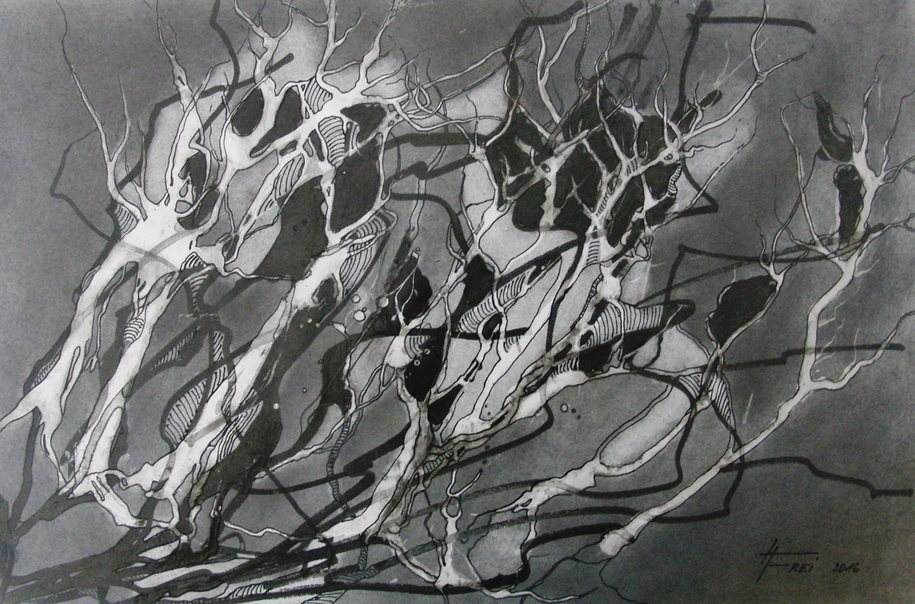 "ART HFrei - ""Verfangen"" - Graphit - 2016"