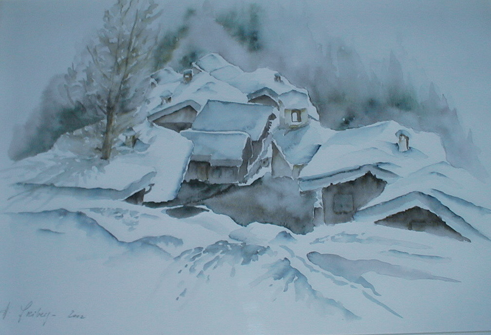 "ART HFrei - ""Winter in Graubünden"" - Aquarell - 2002"