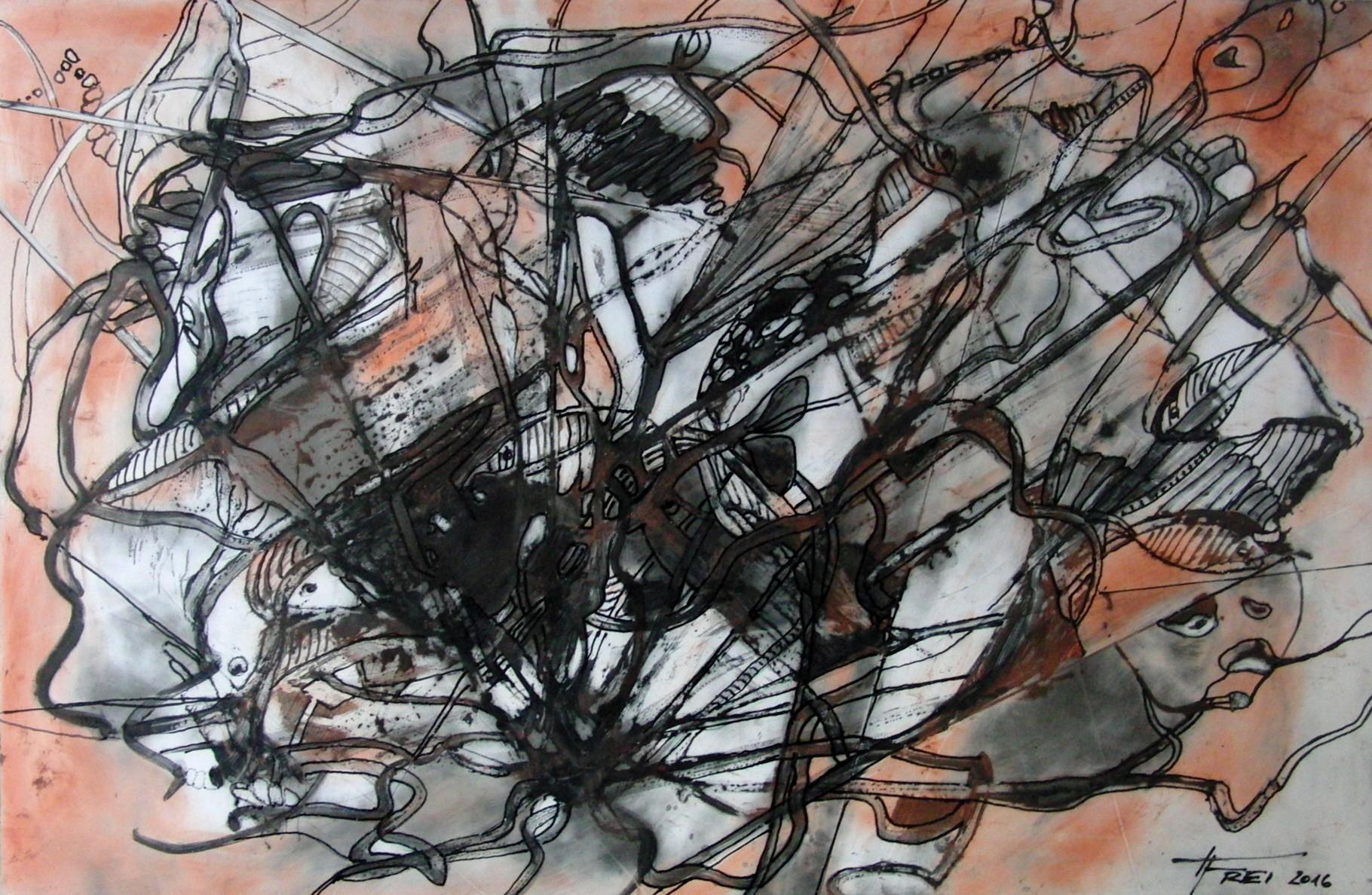"""ART HFrei - """"Gefangen"""" - Graphit-Rötel-Mischtechnik - 2016"""