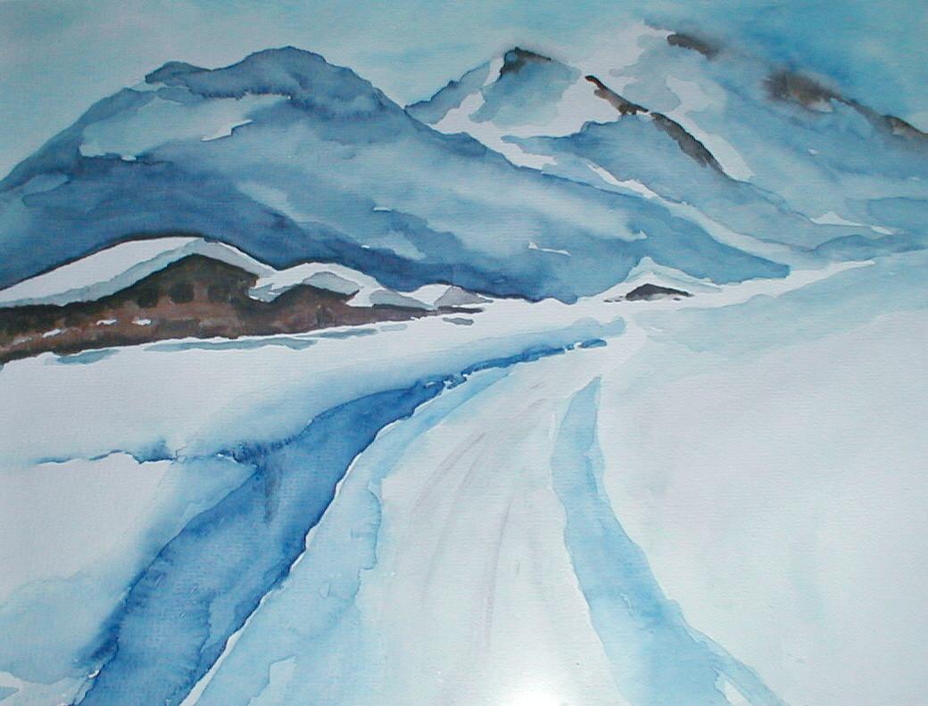 """ART HFrei - """"Tiefschnee"""" - Aquarell - 2002"""