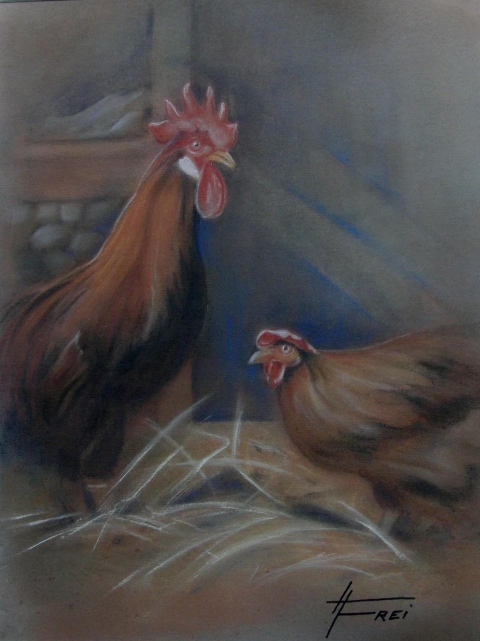 "ART HFrei - ""Im Hühnerstall"" - Pastell - 2006"