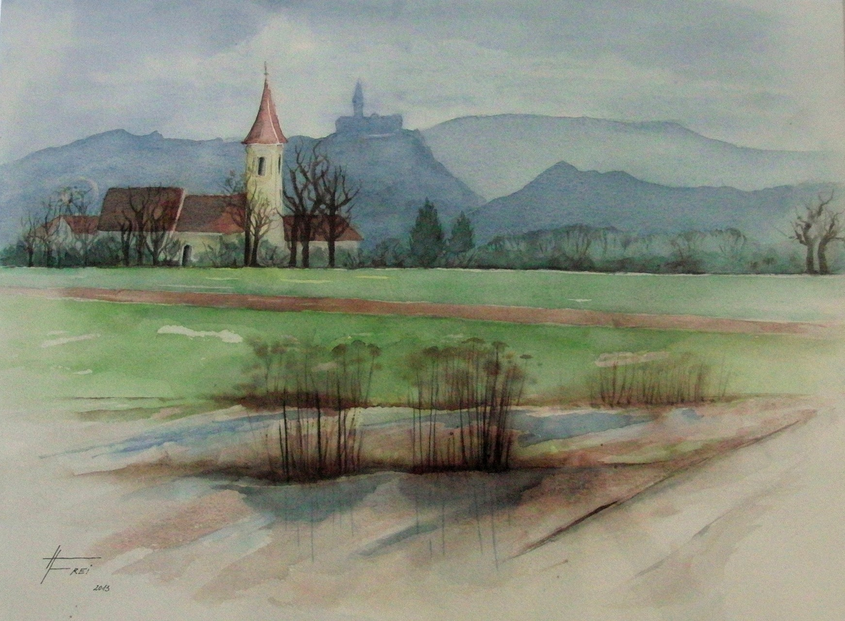 "ART HFrei - ""Morgenspaziergang"" - Aquarell - 2013"