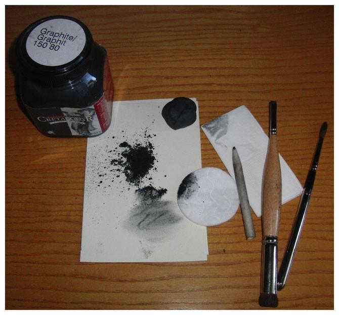 Arbeitsmaterial für Graphit-Porträt