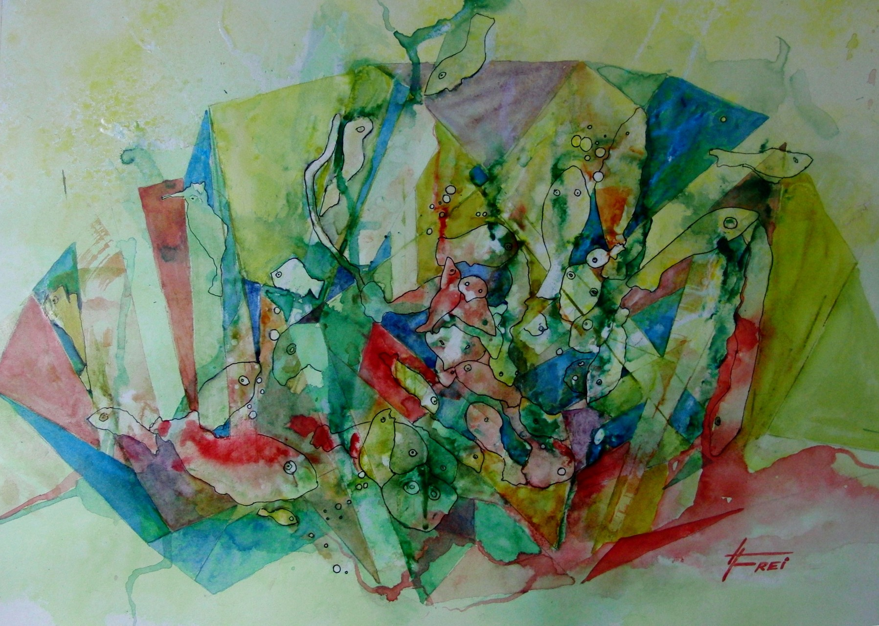 "ART HFrei - ""Party im Aquarium"" - Aquarell - 2013"
