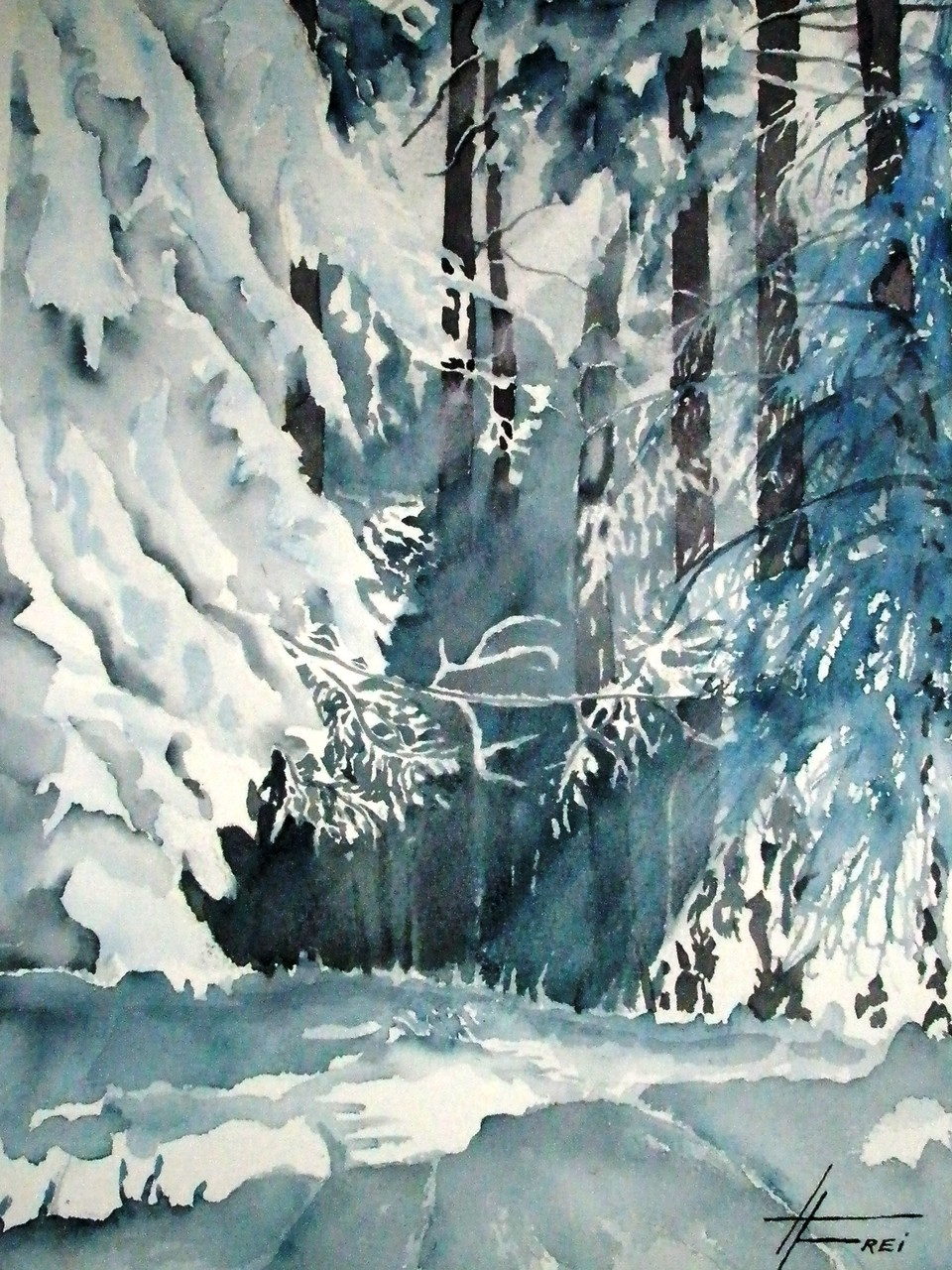 "ART HFrei - ""Winterwald"" - Aquarell - 2007"