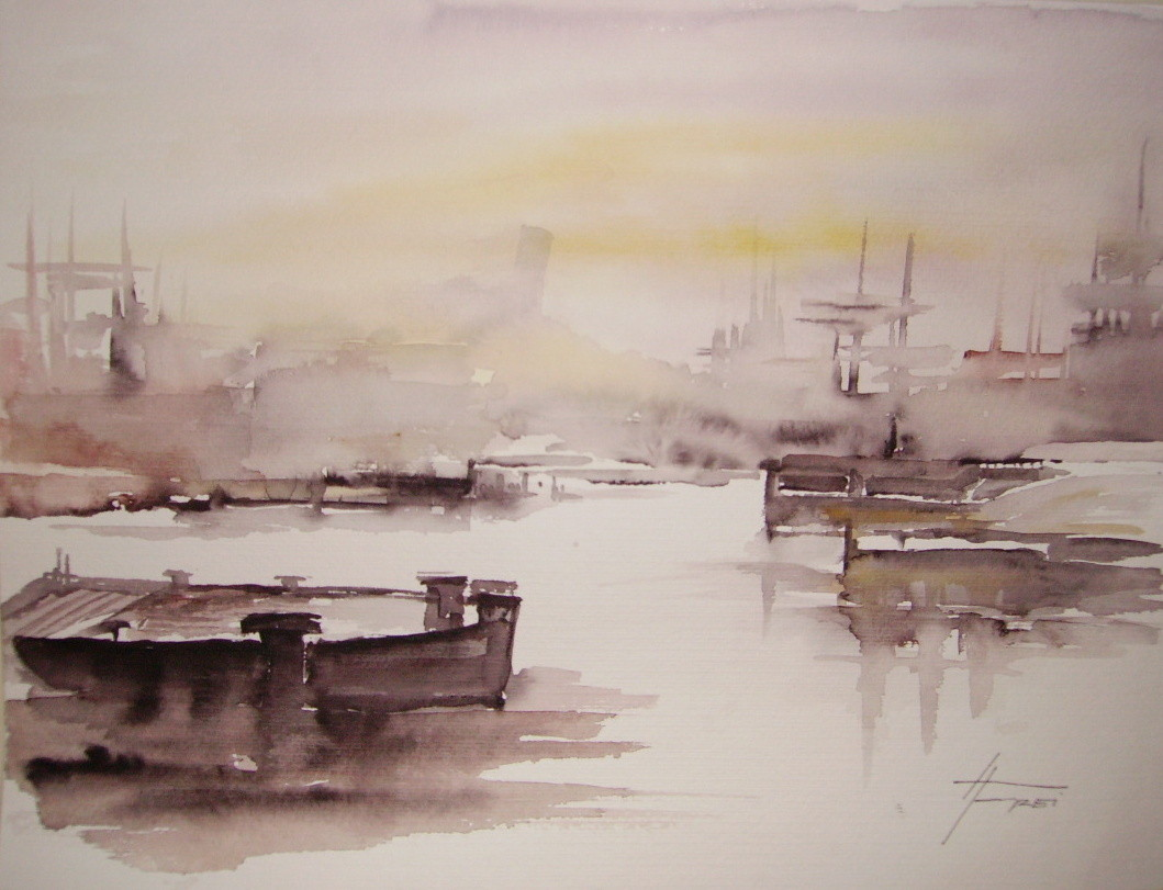 "ART HFrei - ""Am Hafen 2"" - Aquarell - 2004"