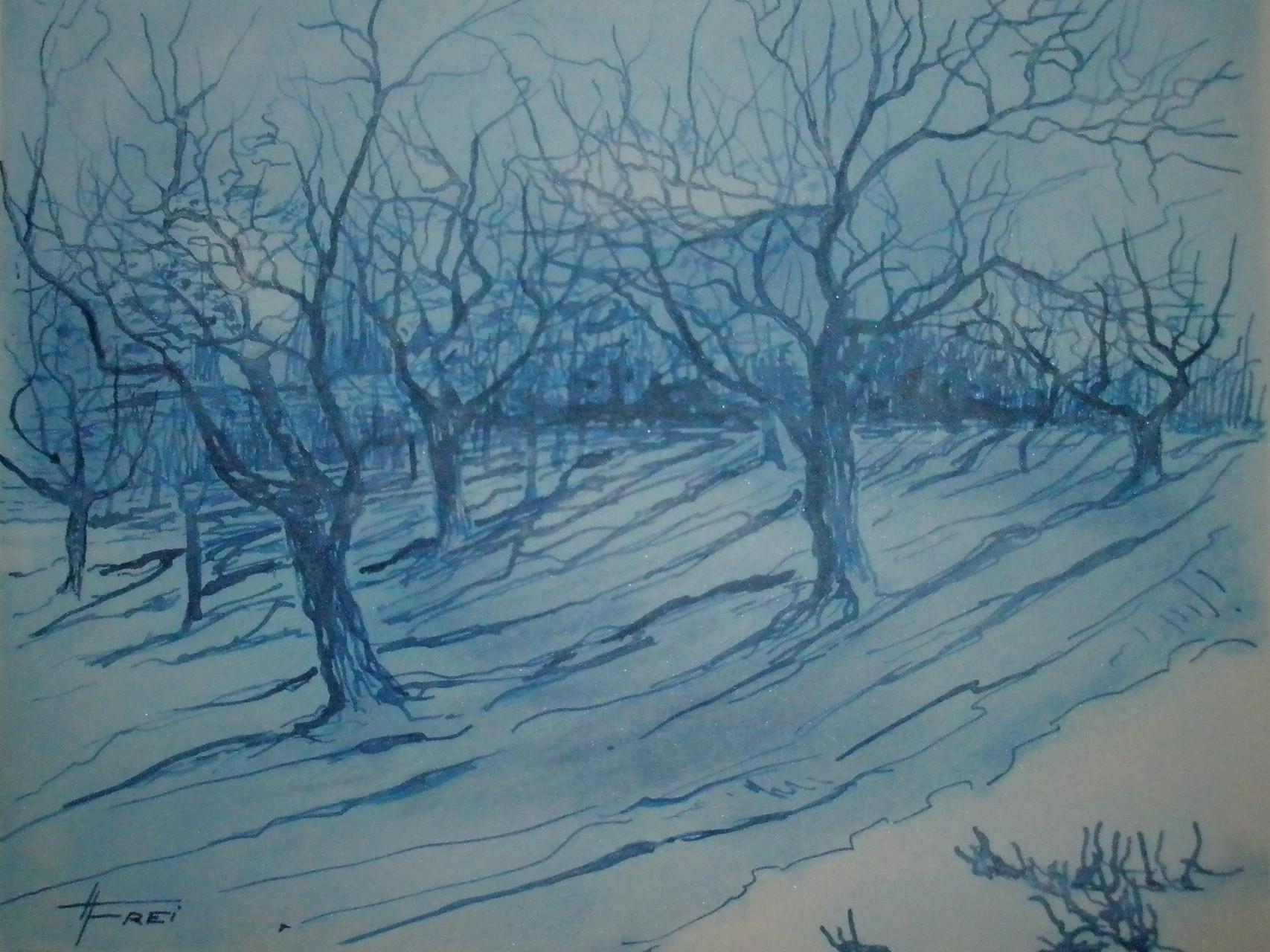 """ART HFrei - """"Bäume nach Van Gogh"""" - Tusche - 2007"""