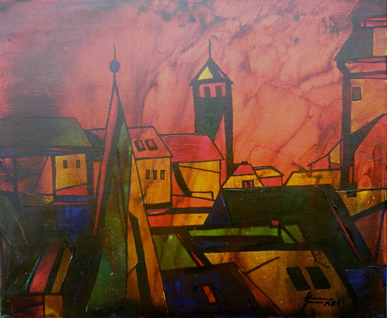 """Stadt im Abendrot"" - Öl - 2008"