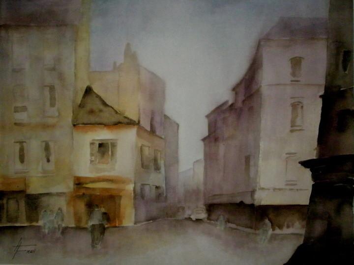 """ART HFrei - """"Die Stadt erwacht"""" - Aquarell - 2007"""