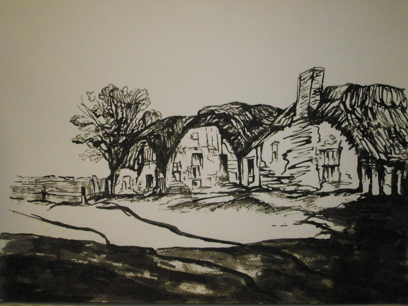 """""""Häuser-Studie"""" - Tusche-Rohrfeder - 2007"""
