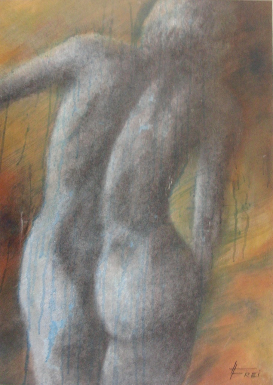 """ART HFrei - """"Stehender Rückenackt""""- Pastell-Mischtechnik - 2009"""