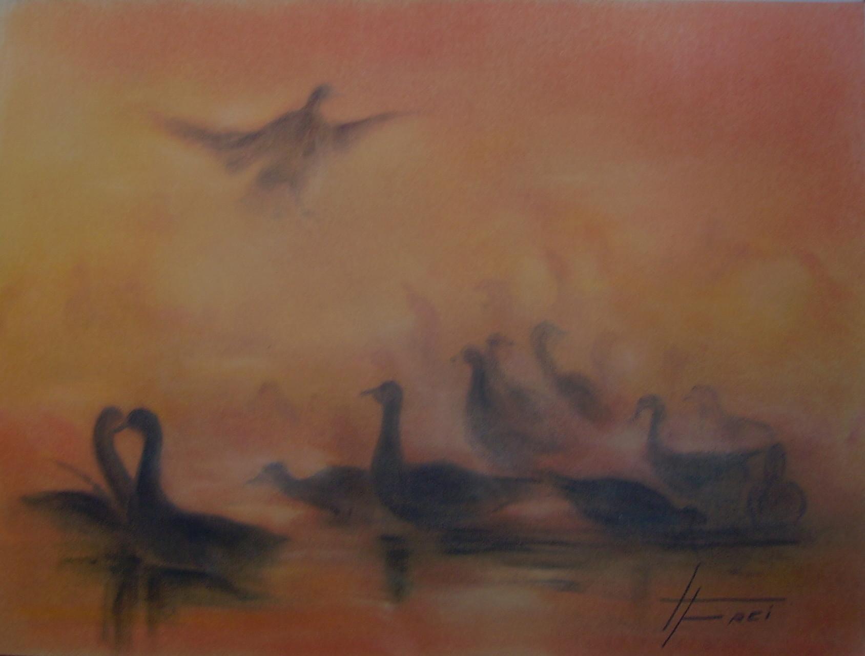 """ART HFrei - """"Gänsetreffen"""" - Pastell - 2006"""