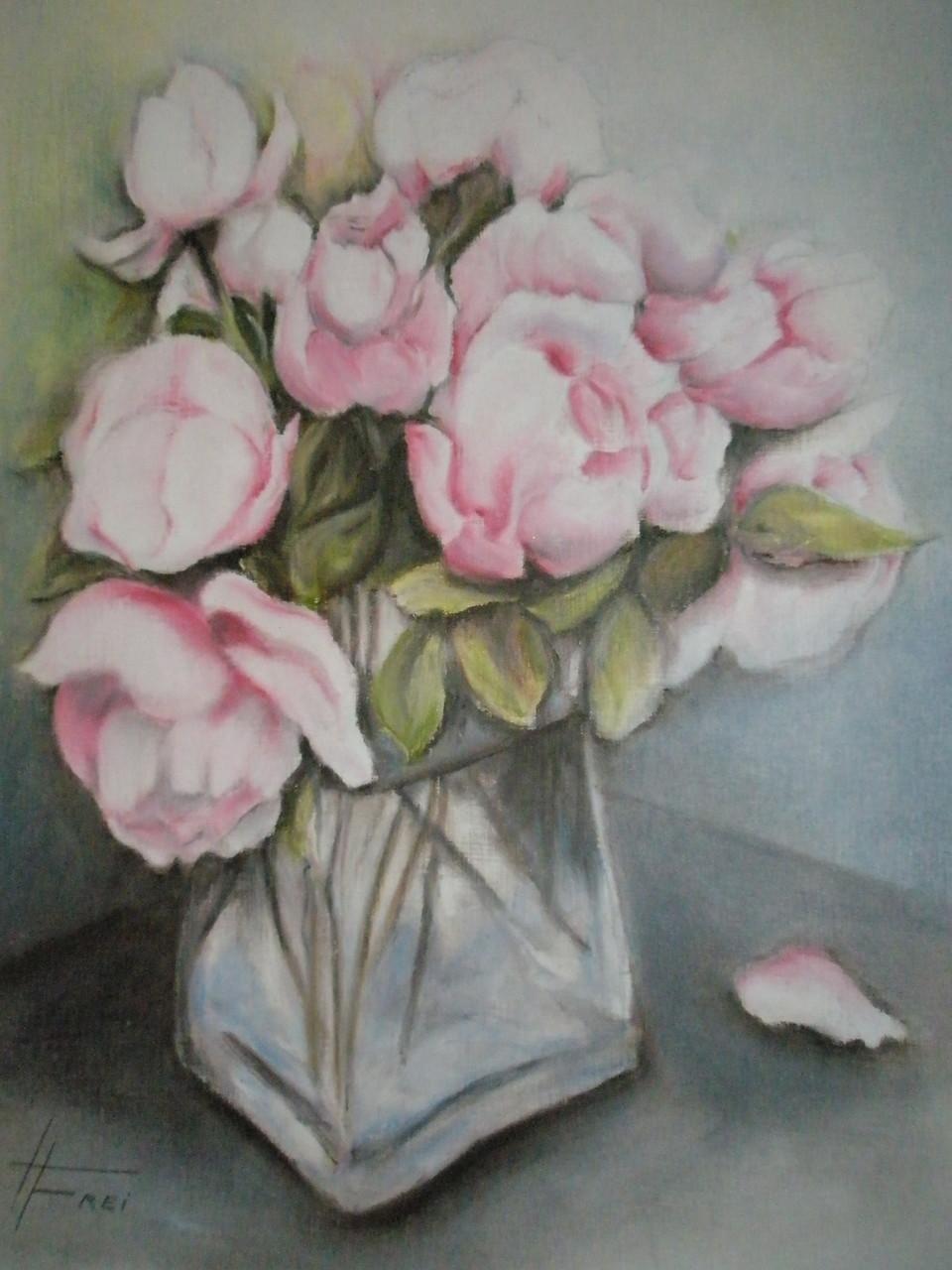 """Mary's letzte Rosen"" - Ölpastell - 2007"