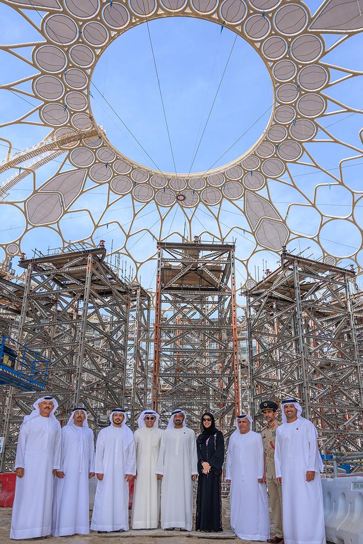 تتويج القبة محطة مهمة في رحلة التحضير لاستضافة إكسبو 2020 دبي، وجميع أعمال الإنشاءات الرئيسية تسير وفقا للمخطط