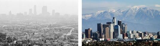 غطاء من الضباب الدخاني فوق مدينة لوس أنجلس في العام 1978 (إلى اليسار). جبال سان غابرييل   المغطاة بالثلوج تشكّل خلفية لأفق وسط مدينة لوس أنجلس في العام 2014.   (Both images © Nick Ut/AP Images)
