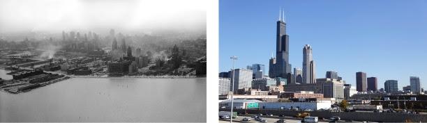 شيكاغو، بولاية إلينوي، في العام 1945، إلى اليسار، وفي العام 2013، إلى اليمين  (Left photo © Kirn Vintage Stock/Alamy. Right photo © M. Spencer Green/AP Images)