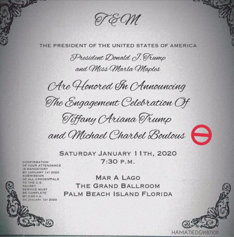 دعوة حفل خطبته على تيفاني ترامب مزيفة