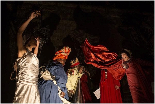 "Performers at a dress rehearsal by the ""Triumphs and Laments"" mural along the Tiber this month. Some associations and do-gooders have tried to come to the aid of the river through a variety of initiatives. (Nadia Shira Cohen for The New York Times)"