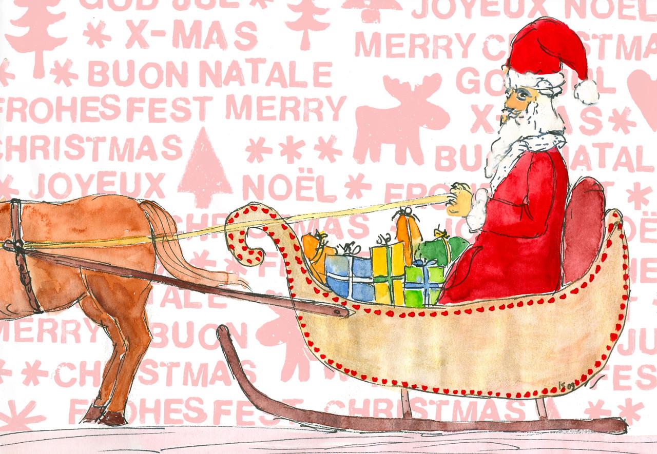 Grußkarte Weihnachts-Schlitten - articula-Kunstpostkarten online-shop
