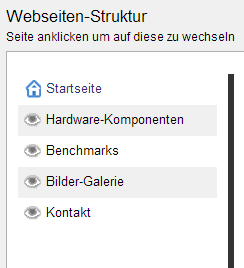 Taskleiste Websitestruktur