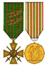 Croix de guerre 14/18 et Médaille d'or de Milan