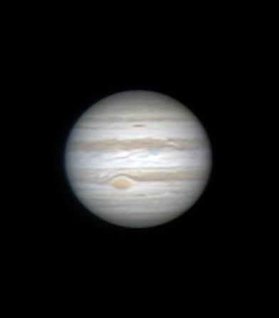 """Jupiter - am 12. Februar 2015 in Flumenthal aufgenommen (am C14 ohne Reducer) - der """"Grosse Rote Fleck"""" (GRF) ist auch sichtbar."""