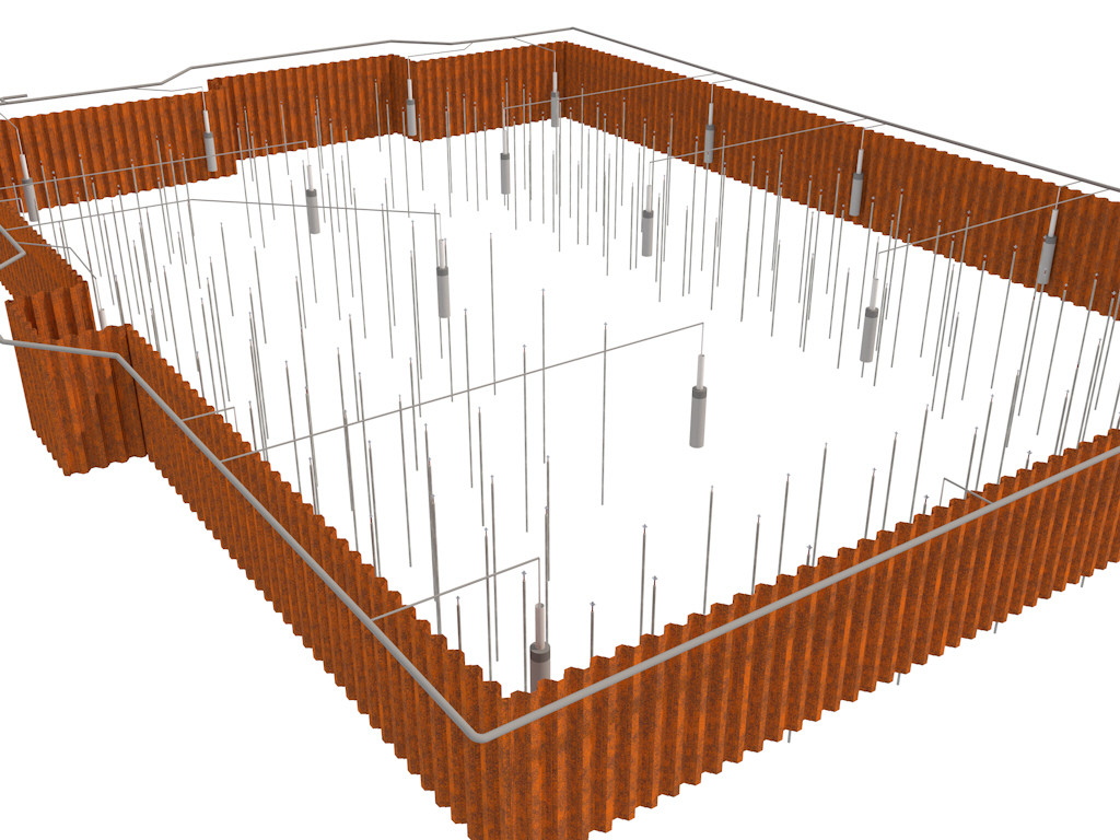 Geotechnisches-Bauwerks-Modell - Spundwand, Bohrbrunnen, Pfahlgründung