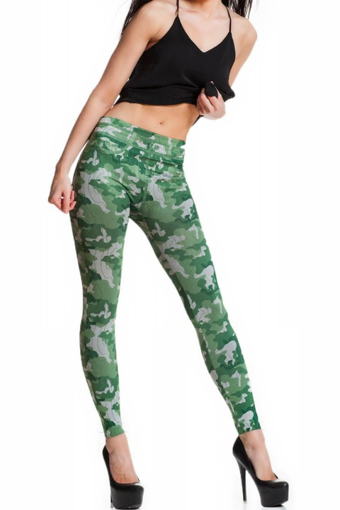 camouflage print legging caliana, camo/groen