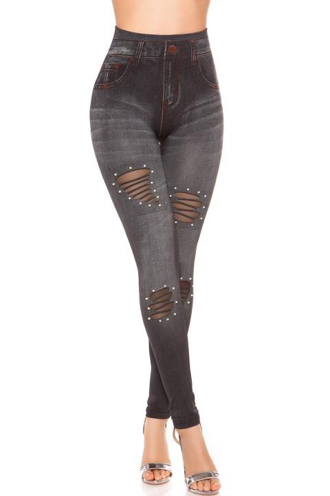 street & sexy stijl legging, hoog getailleerd, bandage groen