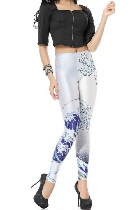 print design legging paris-london, blackmilk, 3d, digitaal, grote golf van kanagawa, hakone museum