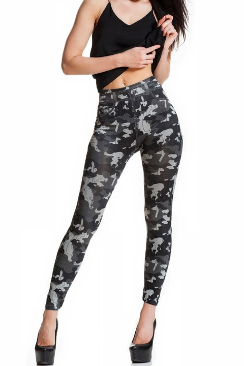 camouflage print legging calle, camo/grijs