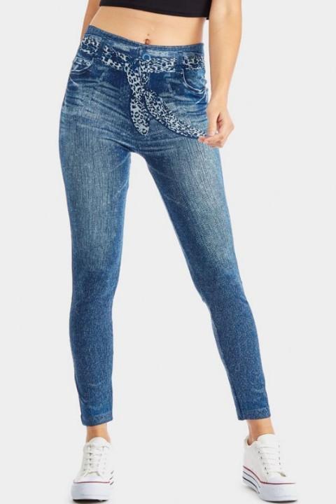 jeans print legging, jegging, tattoo patroon, luipaardriem blauw