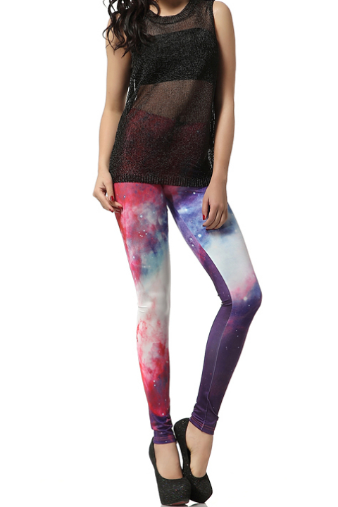 galaxy print legging, aurora print