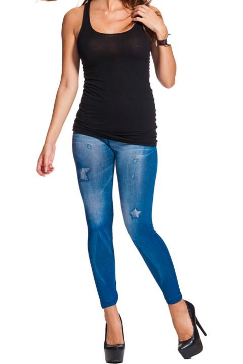 jeans print legging klassiek blauw
