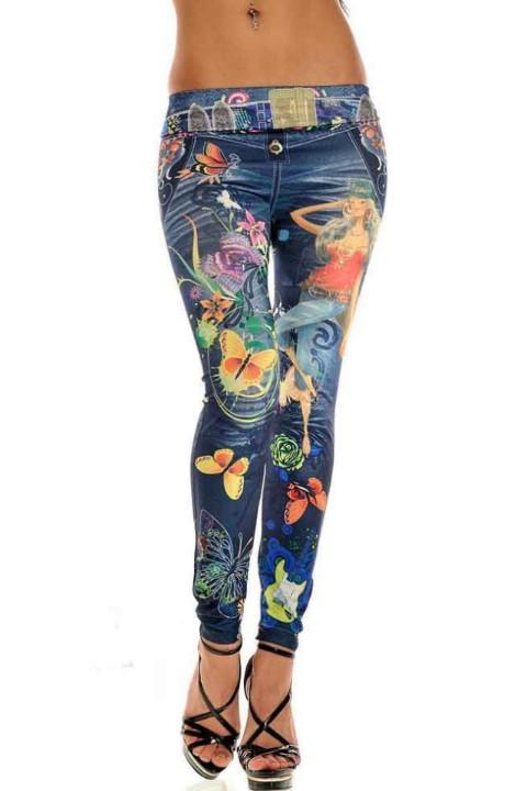 print design legging paarl, vlinder meisje blauw