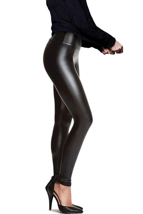imitatieleer legging indi-anna, hoog getailleerd, mat zwart